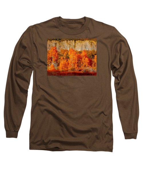 Two Rows Of Aspen Long Sleeve T-Shirt by Marcia Socolik