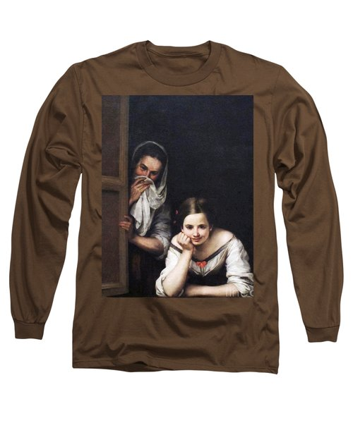 Two Women At Window Long Sleeve T-Shirt by Pg Reproductions