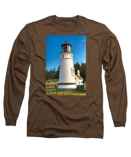 Long Sleeve T-Shirt featuring the tapestry - textile Umpqua River Lighthouse by Dennis Bucklin