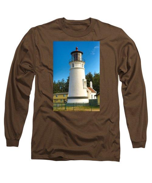 Umpqua River Lighthouse Long Sleeve T-Shirt by Dennis Bucklin