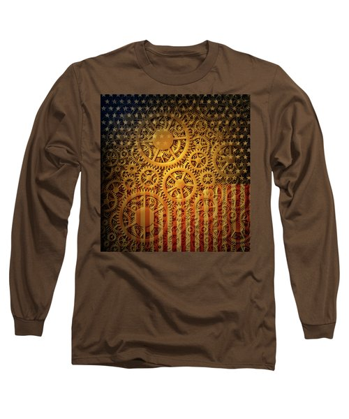 Us Flag And Gears Design Long Sleeve T-Shirt