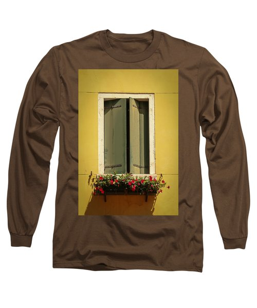 Long Sleeve T-Shirt featuring the photograph Venice Window In Green by Kathleen Scanlan
