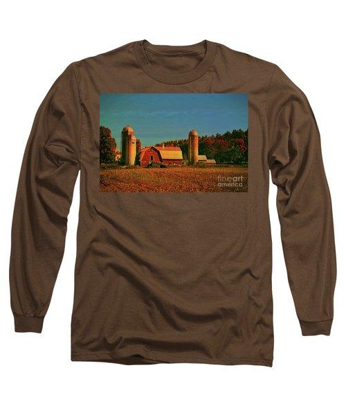 Long Sleeve T-Shirt featuring the photograph Vermont Autumn Barn by Deborah Benoit