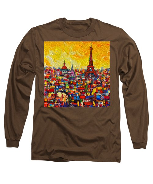 Vibrant Paris Abstract Cityscape Impasto Modern Impressionist Palette Knife Oil Ana Maria Edulescu Long Sleeve T-Shirt