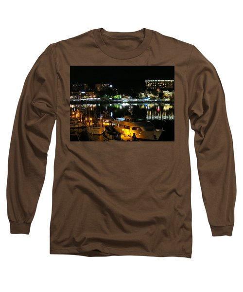 Victoria Inner Harbor At Night Long Sleeve T-Shirt by Betty Buller Whitehead