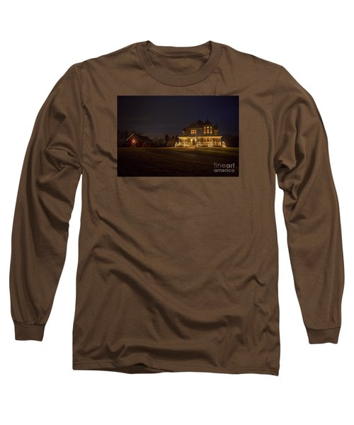 Victorian House At Christmas Long Sleeve T-Shirt by Diane Diederich