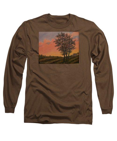 Vineyard Sundown Long Sleeve T-Shirt by Kathleen McDermott