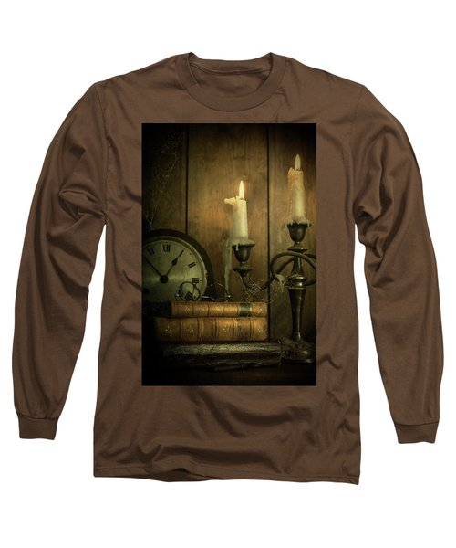 Vintage Books With Candles And An Old Clock Long Sleeve T-Shirt