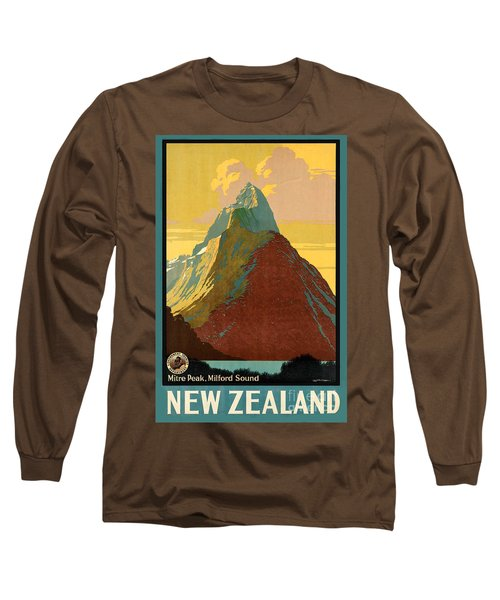 Vintage New Zealand Travel Poster Long Sleeve T-Shirt by George Pedro