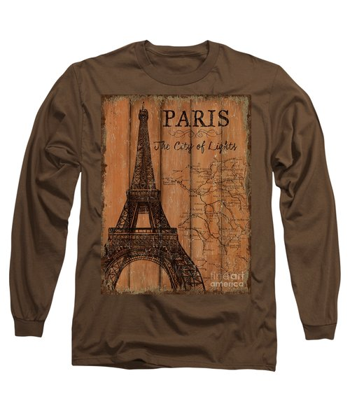 Long Sleeve T-Shirt featuring the painting Vintage Travel Paris by Debbie DeWitt