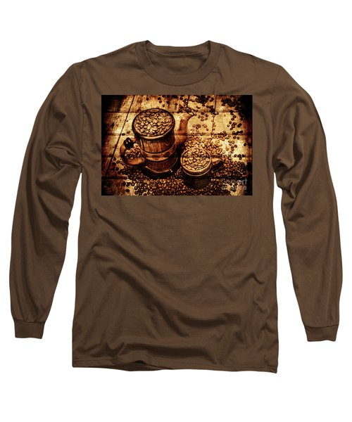 Vintage Wooden Coffee Shop Sign Long Sleeve T-Shirt