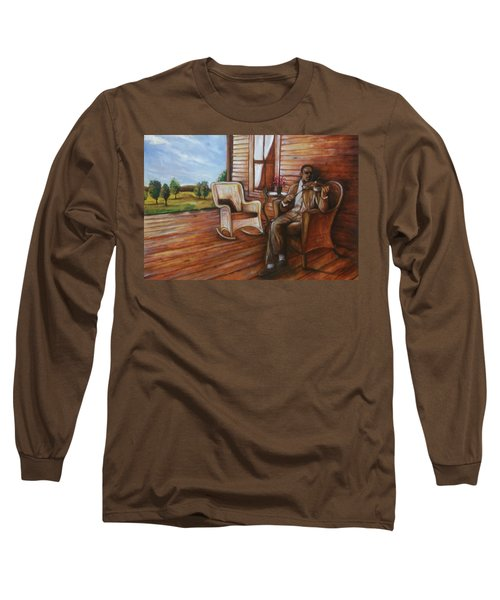 Long Sleeve T-Shirt featuring the painting Violin Man by Emery Franklin
