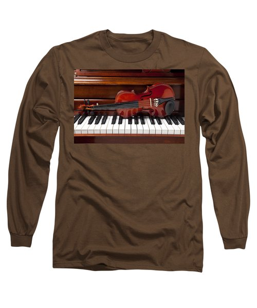 Violin On Piano Long Sleeve T-Shirt by Garry Gay