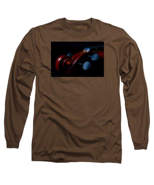 Violin Portrait Music 20 Macro Long Sleeve T-Shirt by David Haskett