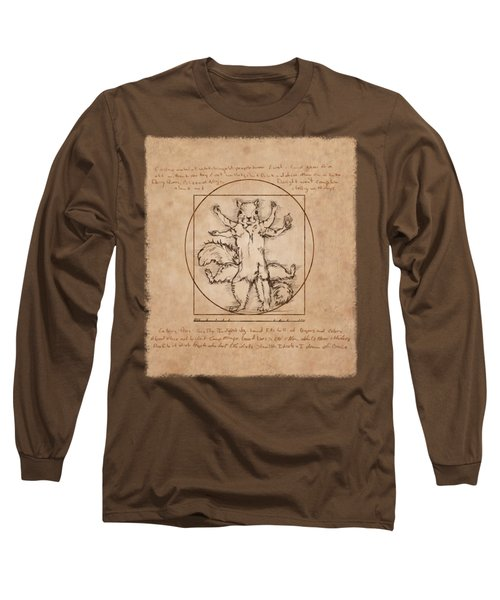 Vitruvian Squirrel Long Sleeve T-Shirt by Katherine Nutt