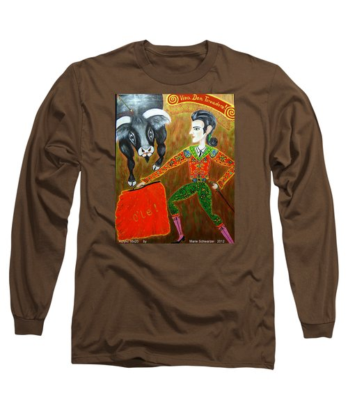 Long Sleeve T-Shirt featuring the painting Viva Don Toreadore by Marie Schwarzer