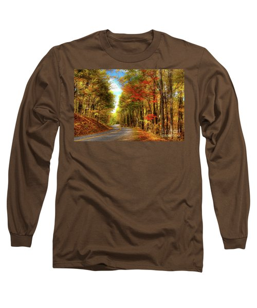 Long Sleeve T-Shirt featuring the painting Vivid Autumn In The Blue Ridge Mountains Ap by Dan Carmichael