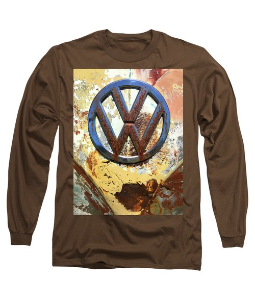 Vw Volkswagen Emblem With Rust Long Sleeve T-Shirt by Kelly Hazel