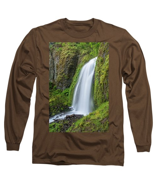 Long Sleeve T-Shirt featuring the photograph Wahkeena Falls by Greg Nyquist