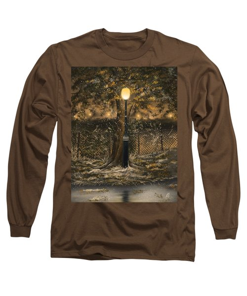 Long Sleeve T-Shirt featuring the painting Waiting For The Snow by Veronica Minozzi