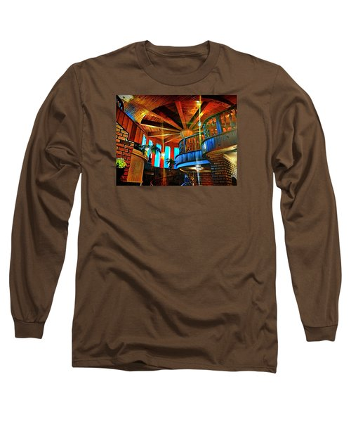 Long Sleeve T-Shirt featuring the photograph Wallaceville House's Rustic Balcony by Kathy Kelly