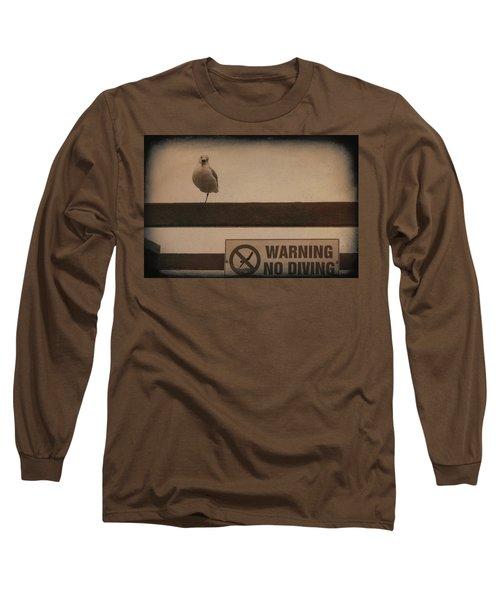 Warning No Diving 2 Long Sleeve T-Shirt by Ernie Echols