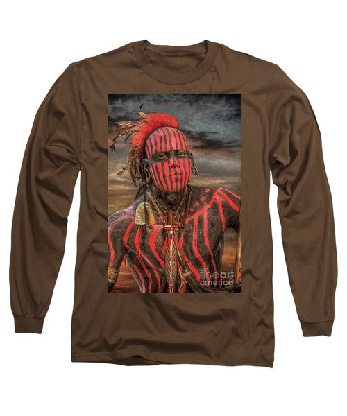 Long Sleeve T-Shirt featuring the digital art Warpath Shawnee Indian by Randy Steele