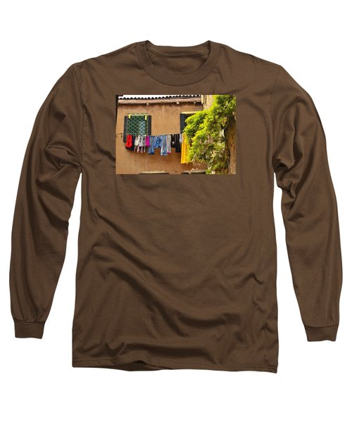 Wash Day In Venice Long Sleeve T-Shirt by Richard Ortolano