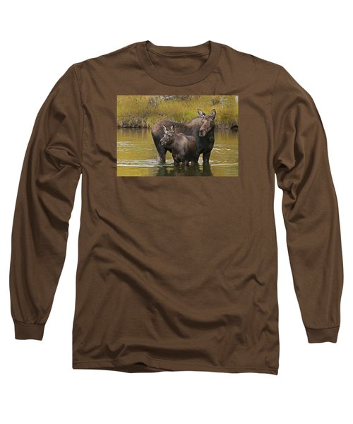 Watchful Moose Long Sleeve T-Shirt by Gary Lengyel