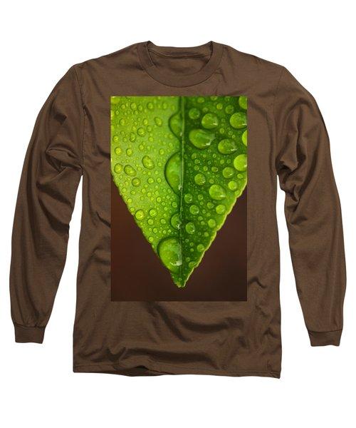 Water Droplets On Lemon Leaf Long Sleeve T-Shirt by Ralph A  Ledergerber-Photography