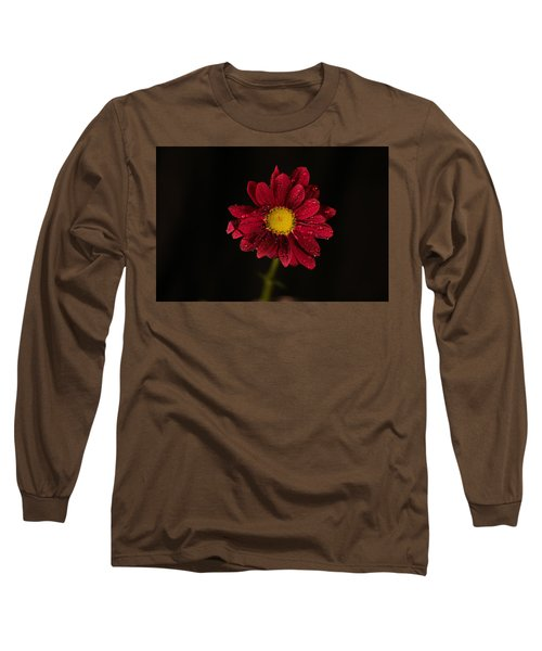 Long Sleeve T-Shirt featuring the photograph Water Drops On A Flower by Jeff Swan