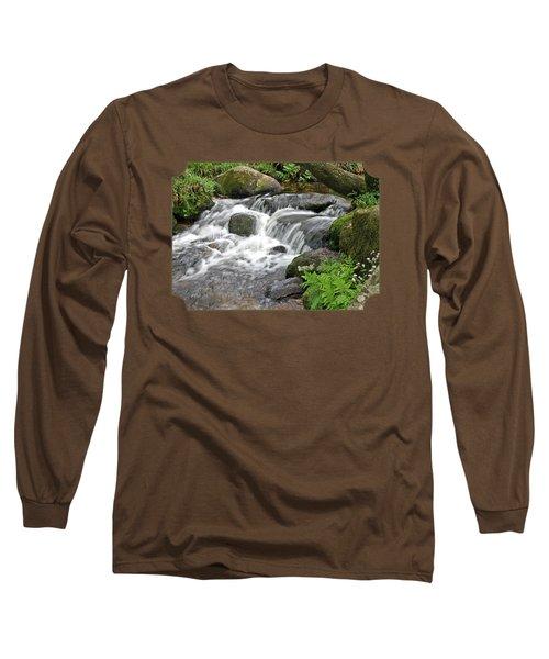 Waterfall At Hexworthy Dartmoor Long Sleeve T-Shirt