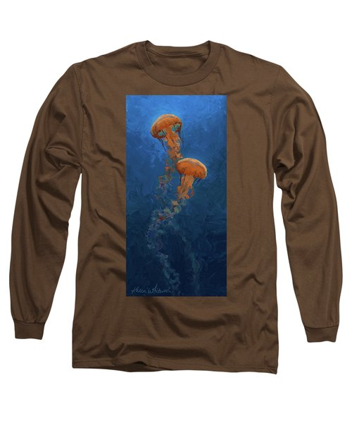 Long Sleeve T-Shirt featuring the painting Weightless - Pacific Nettle Jellyfish Study  by Karen Whitworth