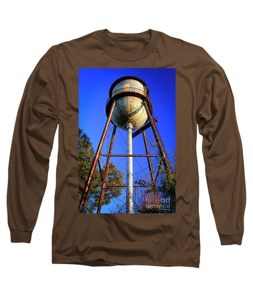Long Sleeve T-Shirt featuring the photograph Weighty Water Cotton Mill  Water Tower Art by Reid Callaway