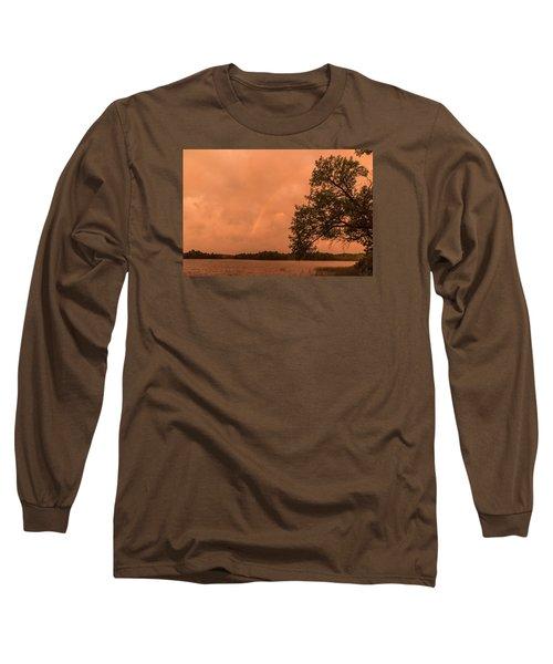Strange Orange Sunrise With Rainbow Long Sleeve T-Shirt by Gary Eason