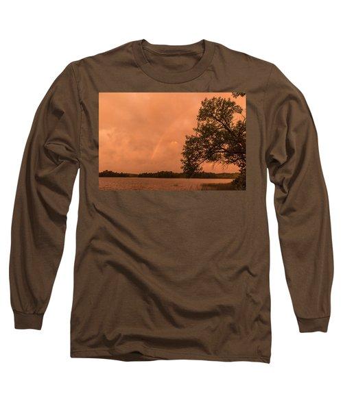 Strange Orange Sunrise With Rainbow Long Sleeve T-Shirt