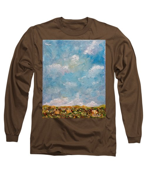 Long Sleeve T-Shirt featuring the painting West Field Seedlings by Judith Rhue