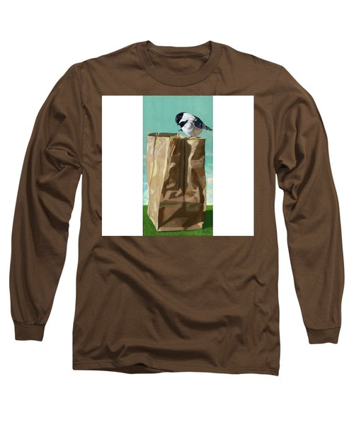 Long Sleeve T-Shirt featuring the painting What's In The Bag Original Painting by Linda Apple