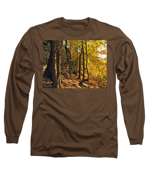 Long Sleeve T-Shirt featuring the photograph Whipp's Ledges In Autumn by Joan  Minchak