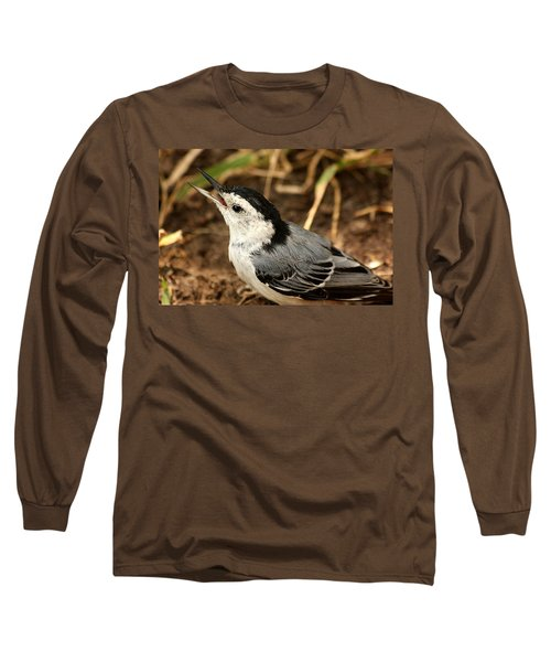 White Breasted Nuthatch 2 Long Sleeve T-Shirt by Sheila Brown