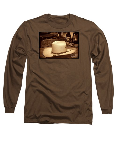White Cowboy Hat In A Barn Long Sleeve T-Shirt by American West Legend By Olivier Le Queinec
