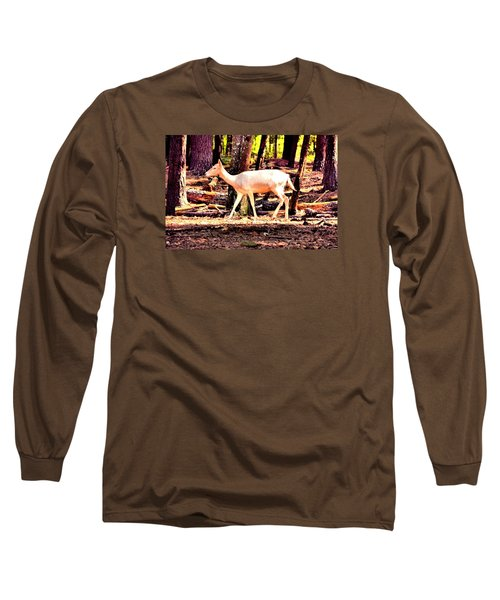 White Deer And Forest Stroll Long Sleeve T-Shirt by James Potts