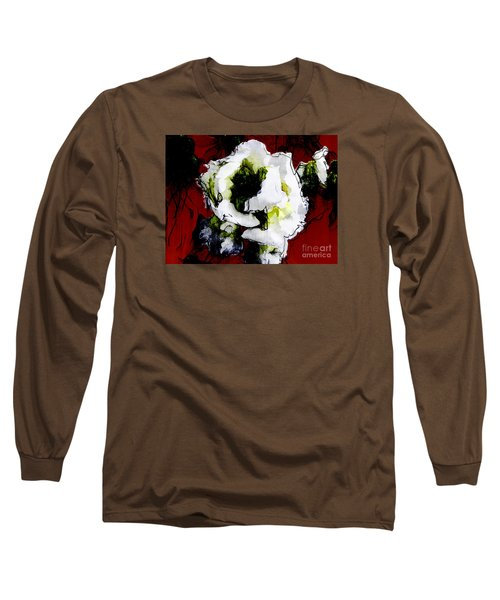 White Flower On Red Background Long Sleeve T-Shirt