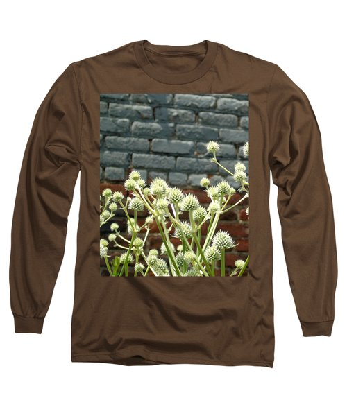 White Flowers And Bricks Long Sleeve T-Shirt by Susan Lafleur