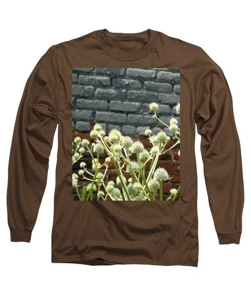 White Flowers And Bricks Long Sleeve T-Shirt