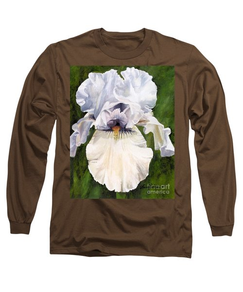 White Iris Long Sleeve T-Shirt by Laurie Rohner
