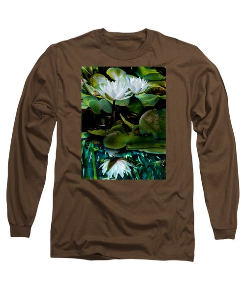 White Lilies, White Reflection Long Sleeve T-Shirt