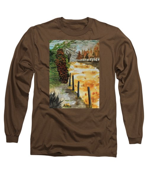White Pine Cone Long Sleeve T-Shirt by Jack G  Brauer