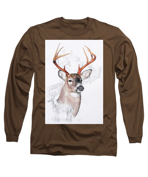 White-tailed Deer Long Sleeve T-Shirt by Barbara Keith