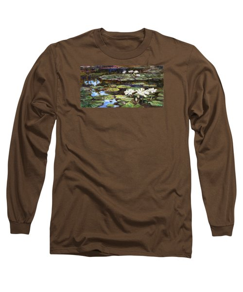 White Waterlilies In Tower Grove Park Long Sleeve T-Shirt by Irek Szelag